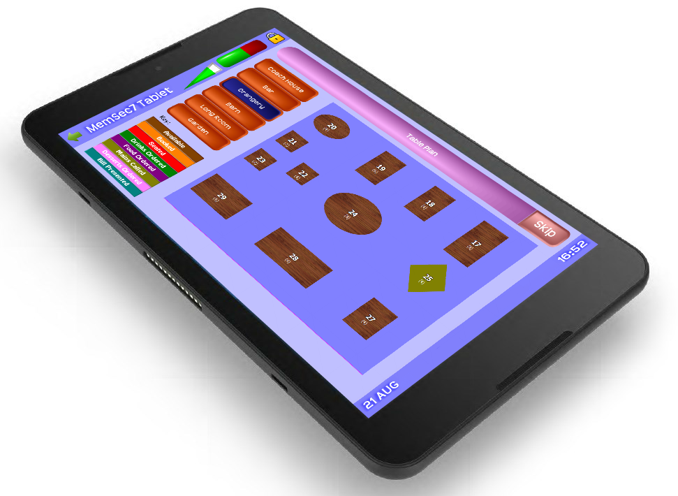 Memsec7 Handheld Waiter Pads Table Plan