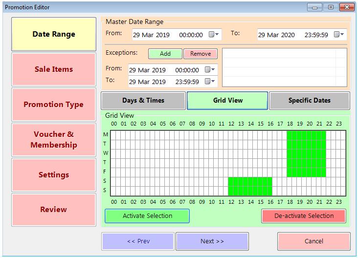 Promotion Date Range Grid