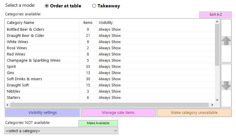 shows menus tab for table ordering